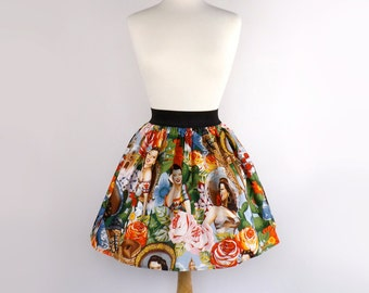 On Sale Aline Skirt  Rockabilly  Mexican Senoritas Skirt
