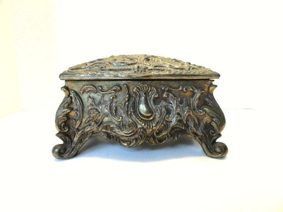 Vintage Brass Jewelry Box Jewelry