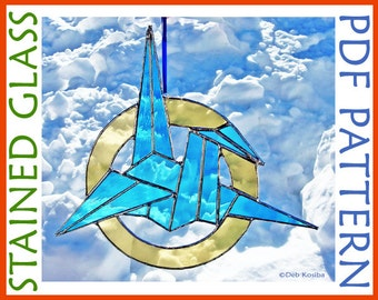 Easy Origami Crane Stained Glass Pattern / Stain Glass Origami Crane PDF / Origami Crane Suncatcher Pattern PDF / Crane Craft Pattern
