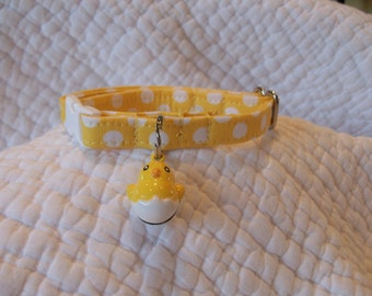 Easter Cat Collar Yellow Polka Dot with Chick bell Breakaway Collar Custom Made