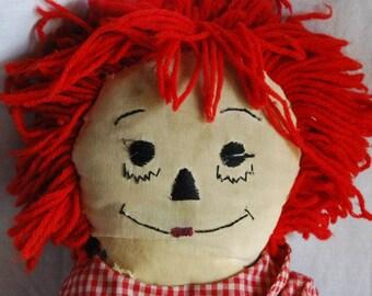 Vintage Raggedy Andy Original Hand Made Cloth Rag Doll 1970's
