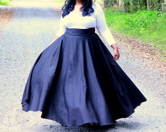 "CYBER SALE Navy (20-24) Ready to Ship Plus Size Maxi Skirt / Women plus size High Waist /  41- 42"" L"