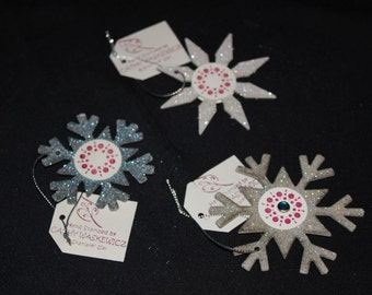 Set of 3 Chipboard Snowflake Ornaments