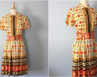1960's dress/ 60's dress/ Graphic Neon Floral dress