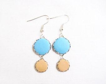 Polymer Clay Earrings, Blue Peach Dangle Earrings, Pastel Circle earrings