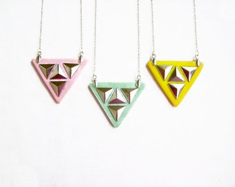 Triangle Pyramid Studded Necklace in Mint, Pink or Yellow - Color of Your Choice,