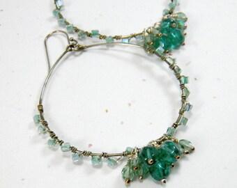 Large Hoop Earrings, Green Earrings, Wire wrapped earrings, Crystal earrings, Mint Green Lime Spring Green, Sterling Silver Hoop earrings