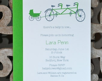 Baby Shower Invitations, Baby Shower Invites, Bike, Tandem Bikes, Prams, Baby Announcements, Bicycles, Shower Invites, New Baby