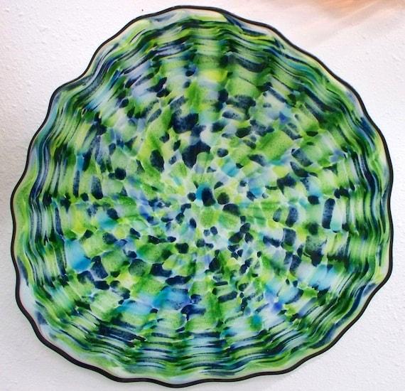 beautiful hand blown glass art wall platter bowl 3562 blue. Black Bedroom Furniture Sets. Home Design Ideas