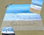 Unique Wedding Gift -Personalized Blanket with Bride and Groom's name written in Real beach Sand - 2 year cotton anniversary gift