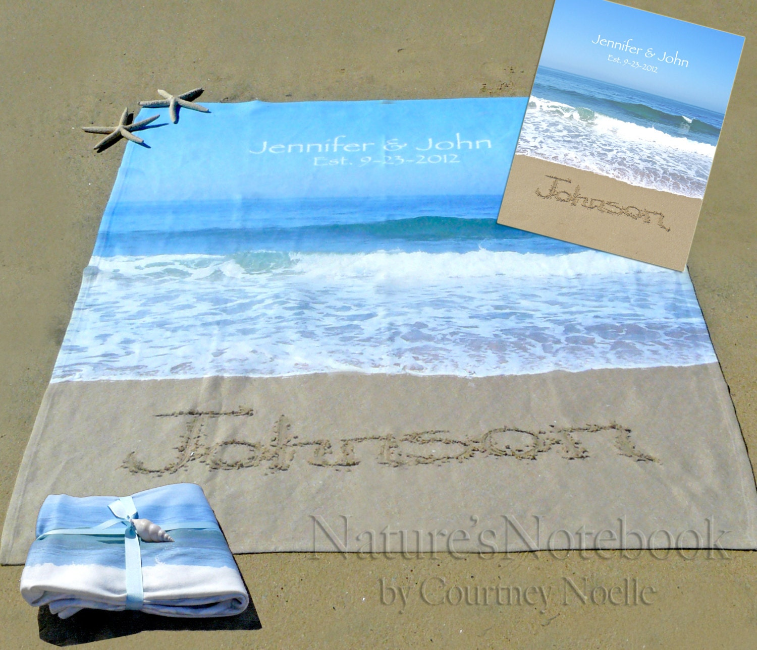 Personalized Beach Wedding Gifts: Unique Wedding Gift Personalized Blanket With Bride And