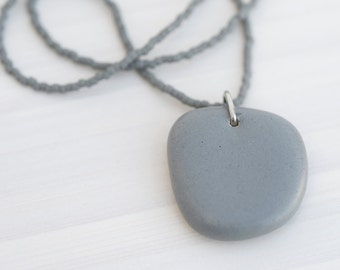 ceramic pendant and beaded necklace - solid grey matte