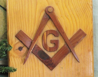 Freemason Folk Art Wood Plaque , Caliper , Fraternal Society , Group , Man Cave , Masculine , Wood Carving , Mason, Handmade, Wood Craft