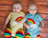 Rainbow and clouds TWIN Bodysuit Set , Great Shower gift for TWINS or siblings - twinzzshop