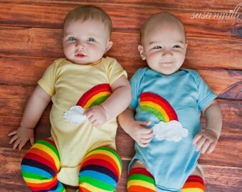 Rainbow and clouds TWIN Bodysuit Set, Great Shower gift for TWINS or siblings
