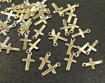 Lot Sale - 100 pcs - little tiny thin gold plated cross charms tags - 6 x 11mm