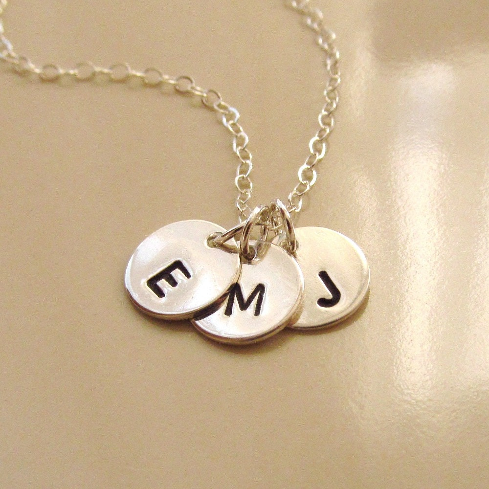 tiny sterling silver discs necklace sterling silver initial. Black Bedroom Furniture Sets. Home Design Ideas
