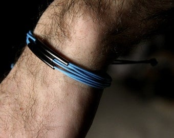 for him - adjustable bracelet gunmetal and blue waxed cotton - men and unisex bracelet