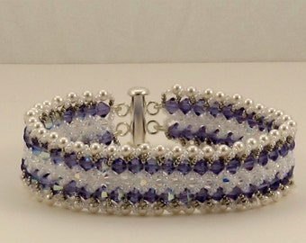 Tanzanite and White Pearl Crystal Bracelet  7 inches
