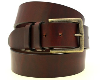 """American Made 1 1/2"""" Men Or Women's Chestnut Oil Tanned Latigo Leather Belt Large Square Buckle With Antique Brass Finish Double Loops"""