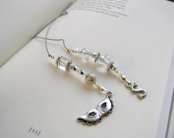 Masquerade Mask BEADED BOOKMARK - Jeweled Book Thong in Clear Glass and Silver with Pewter Charms
