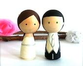 Custom Kokeshi Doll WEDDING CAKE TOPPER Cute Wedding Cake Topper Kokeshi Cake Topper Peg Doll Wedding Decor