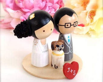 Custom WEDDING CAKE TOPPER With Pet and Stand Personalized Love Stand Kokeshi Doll Wedding Cake Toppers Cute Cake Toppers
