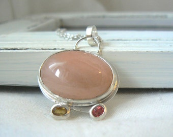 Peach Taste - Sterling silver, Agate and Sapphires Pendant - READY TO SHIP