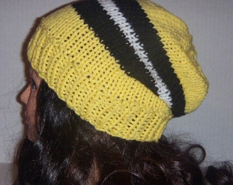 Yellow Knitted Beanie Hat, Womans Accessories, Mans Accessories, Yellow Black and White