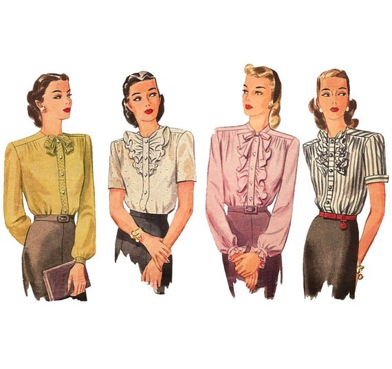 1940s Womens Ruffle Blouse - Simplicity 1222 Vintage Sewing Pattern- 38 Bust
