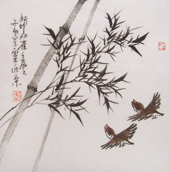 original ink painting bamboo painting chinese painting