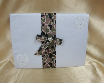 White Wedding Guest Book with Camouflage Trim
