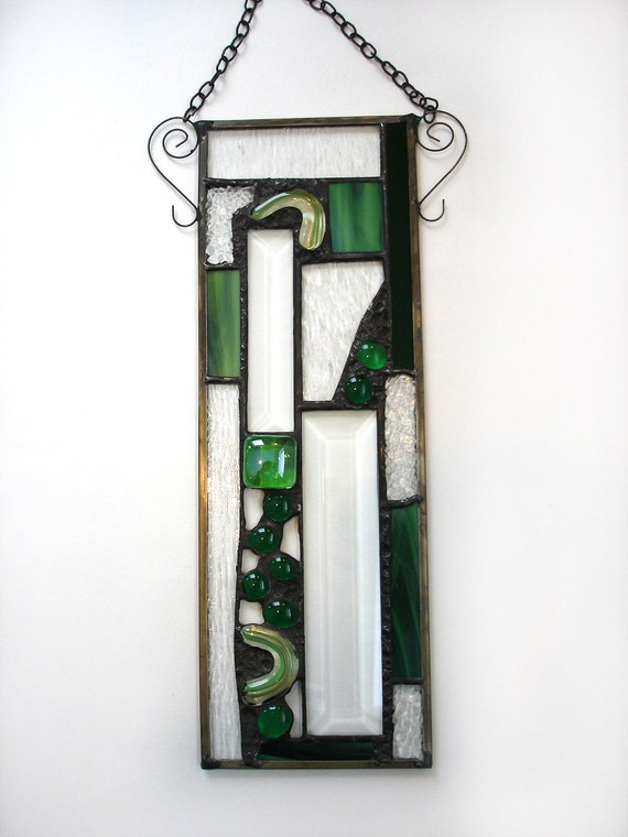 Stained glass abstract rectangle decorative art suncatcher art deco panel lime green modern contemporary