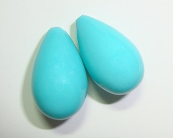 1 pair with gold cup and peg, 13x9mm, So Beautiful, Half Drilled, Lovely Turquoise South Sea Shell Pearl Teardrop Briolette