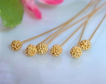 24k Vermeil Cluster Ball Head pin, 6 pcs, 24g gauge ga g, 65mm, 2.5 inch, Bali Cluster Beads Headpins