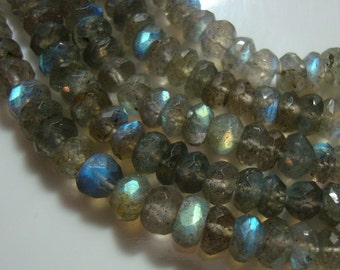 Flashing Fiery Blue Green LABRADORITE Micro Faceted Rondelle, 1/2 strand, 3.5-4mm