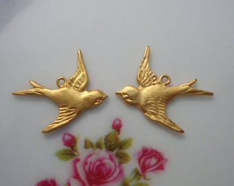 24K Gold Vermeil over 925 Sterling Silver Happy swallow sparrow Bird Charm, left and right