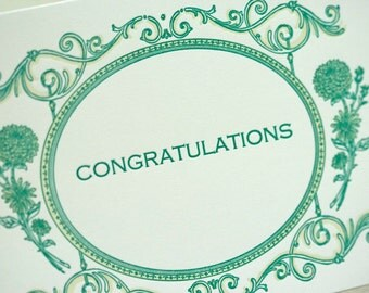 SALE - Congratulations Letterpress card - Ambrose - 60% off