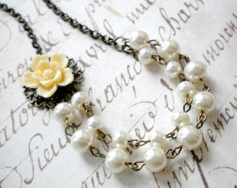 Ivory Pearl Necklace Bridesmaid Flower Necklace Double Strand Beadwork Necklace Ivory Wedding Jewelry Spring Wedding Party Maid Of Honor