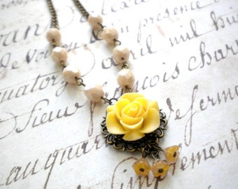Flower Necklace Yellow Necklace Yellow Bridesmaid Necklace Ivory Necklace Yellow Jewelry Bell Necklace Bridesmaid Gift Romantic Necklace
