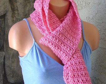 Scarf Rose Pink Soft Crocheted