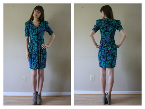 80s Does 40s Floral Dress Teal Purple Black Flowers Huge Shoulder Pads Nipped Dropped Waist Size Extra Small xs (000-00-0)
