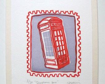 London red telephone box linocut print illustration - Handmade limited edition