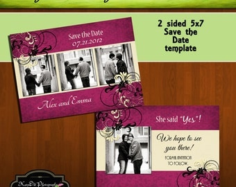 Wine Bling 5x7 Save the Date Template/PSD file