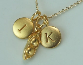Two Pea Pod Gold Charm Necklace adorned with Two Custom Initial Charms