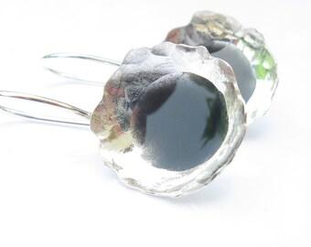Black Earrings,Hammered Silver Earrings with Black Resin