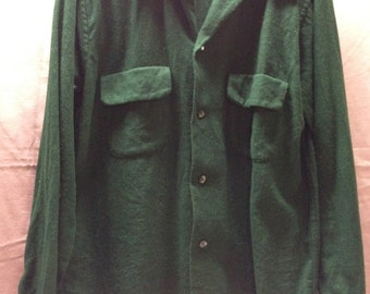 Small Shirt Green Wool Blend1950s Pilgrim Sears Rockabilly