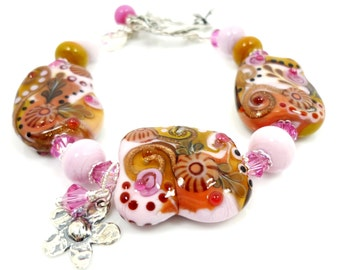 Pink Floral Bracelet, Free Form Bracelet, Lampwork Bracelet, Glass Bracelet, Beaded Bracelet, Beadwork Bracelet, Glass Bead Bracelet