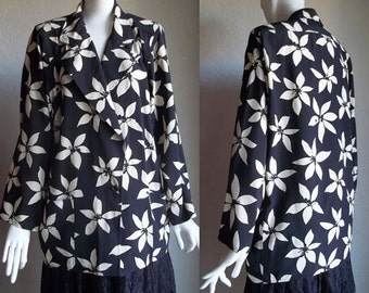 Vintage 80s Ungaro parallele Italy Oversized Blazer Jacket High Low Black Cream Floral M 6