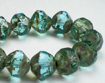 Aqua Blue Transparent Czech Glass Beads Picasso 8mm Central Cut 15 Pcs. CC-029